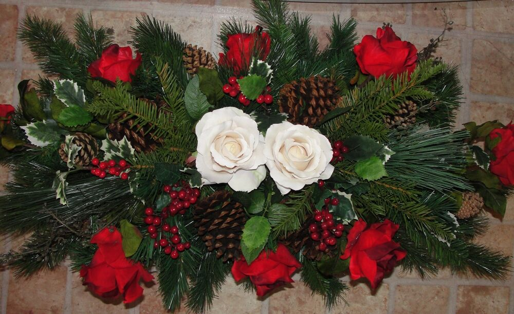 Valentines Day Cemetery Silk Flower Grave Christmas Pillow