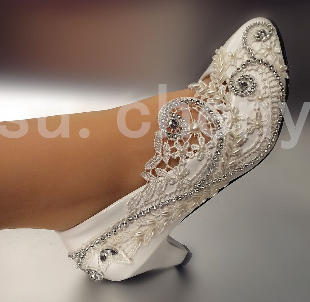2 low heel Lace white light ivory crystal Wedding shoes Bridal pump size 512  eBay