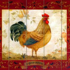 Rooster Kitchen Decor Floor To Ceiling Cabinets 30 X 24 Art Mural Ceramic Backsplash Bath Tile ...