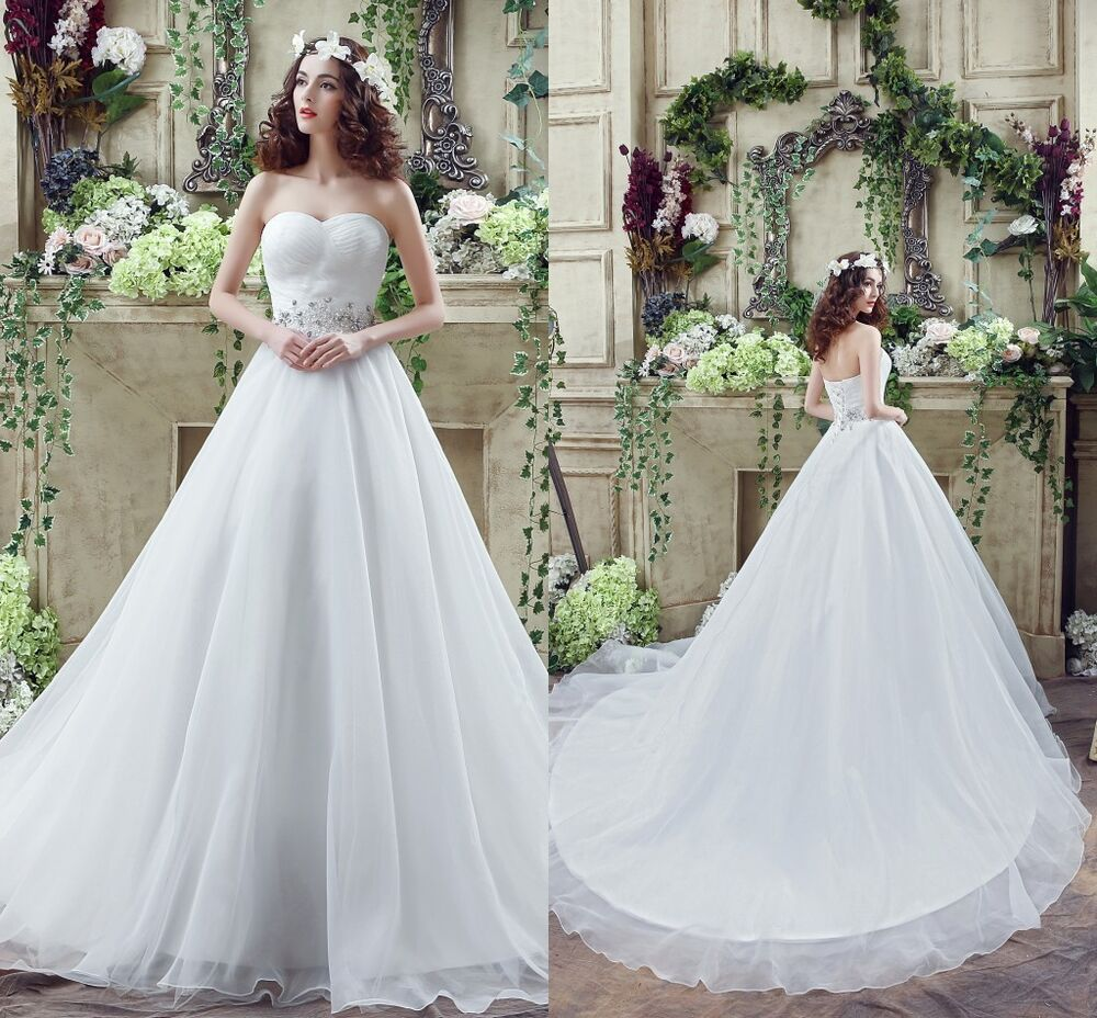 Cheap White Ivory Wedding Dresses Ball Gown Organza Crsytals Lace Bridal Gowns  eBay