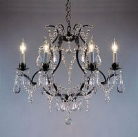 Swarovski Crystal Trimmed Chandelier! Wrought Iron Crystal