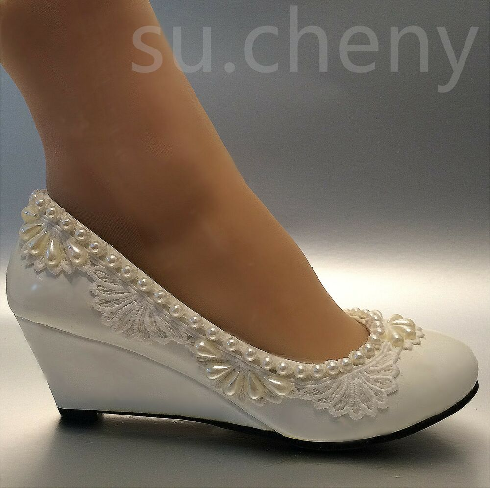 2 heel wedges lace white light ivory pearl Wedding shoes Bridal low size 5105  eBay