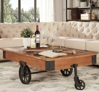 Rustic Coffee Table Vintage Industrial Railroad Cart