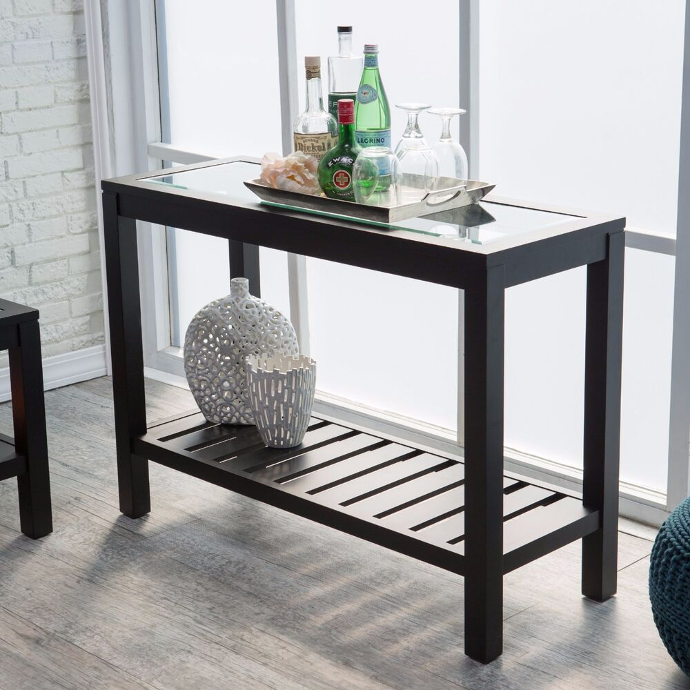 Black Console Table Sofa Entryway Furniture Glass Top Wood