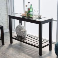 Black Console Table Sofa Entryway Furniture Glass Top Wood ...