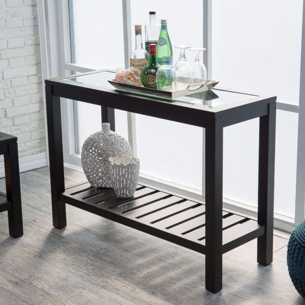 Black Console Table Sofa Entryway Furniture Glass Top Wood Accent Hallway Shelf