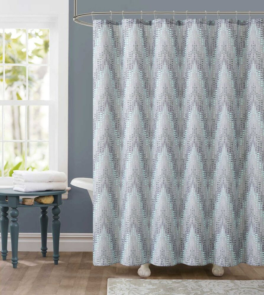 Dobby Fabric Shower Curtain Gray and Green Chevron Tile Design 72 x 72  eBay