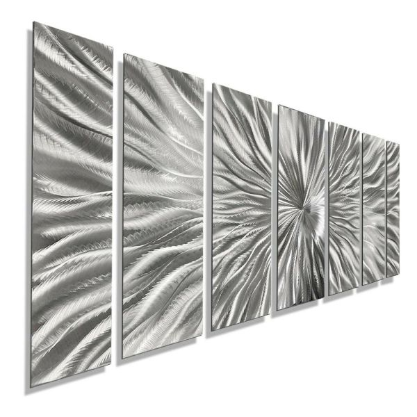 Silver Contemporary Metal Wall Art - Handmade Abstract