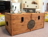 Large Wooden Chest Trunk Rustic vintage Storage Blanket ...