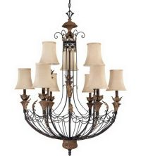 Gilded Cage 9 Light Chandelier With Shades | eBay