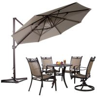 11ft Offset Cantilever Patio Umbrella w/Tilt Crank Outdoor ...
