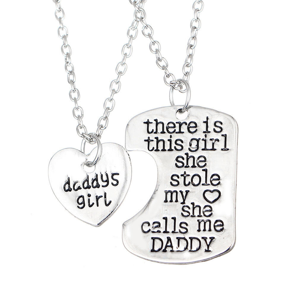 Letter Heart Keychain Necklace Pendant Daddy Daughter