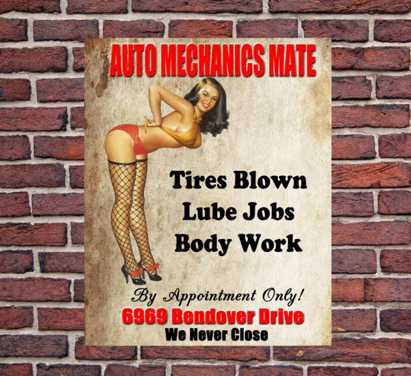 Auto Mechanics Mate Large Metal Vintage Style Tin Sign
