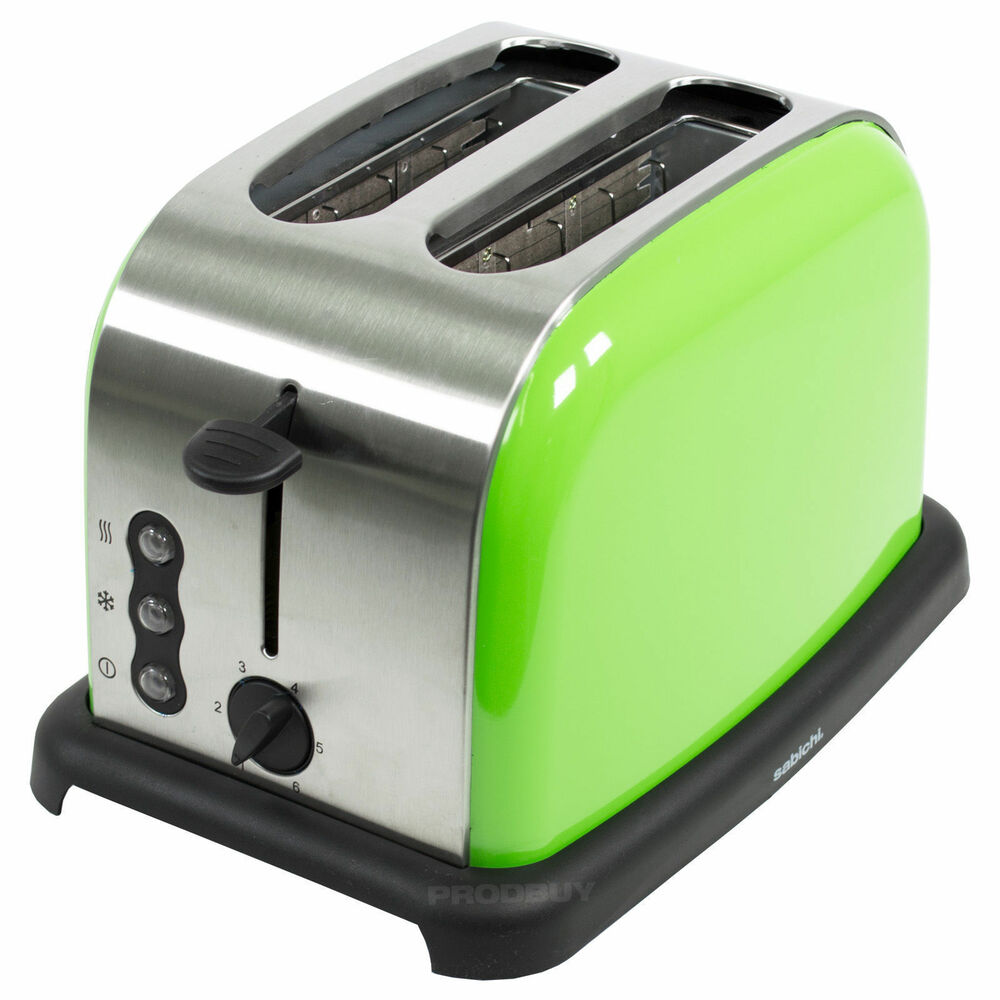 Sabichi Toaster Stainless Steel Lime Green 2 Slice