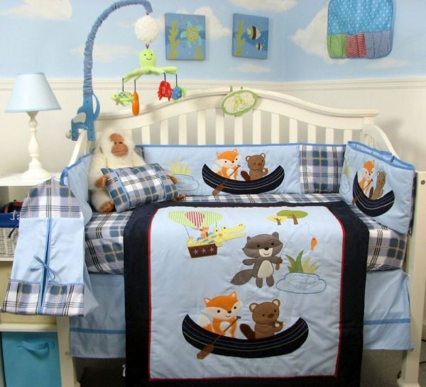 Blue Crib Bedding Set ' Fishing Infant Baby Boy