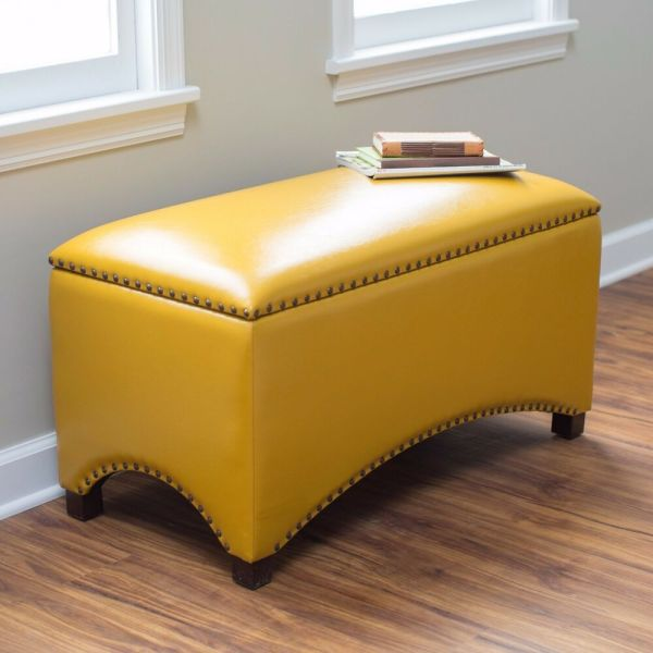 Leather Storage Bench Seat Bedroom Ottoman Upholstered Entryway Nail Head