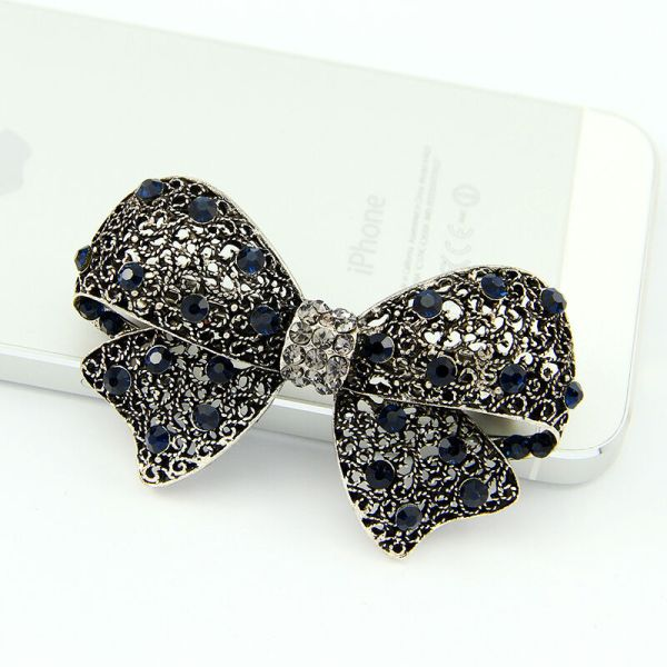 Black Vintage Flower Rhinestone Women Hairpin Accessories