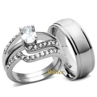 His and Hers Wedding Ring Sets Women's Oval CZ Rings Set ...