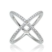 Sterling Silver Diamond Accent Criss-Cross X Ring | eBay