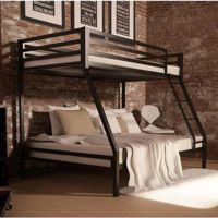 Metal Bunk Beds Frame Twin Over Full Black Ladder Kids ...