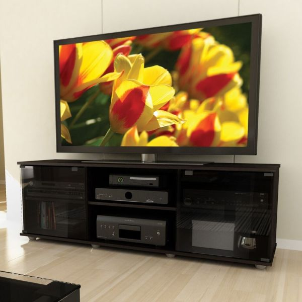 Black Tv Stand Entertainment Center Modern Furniture Media Console Storage