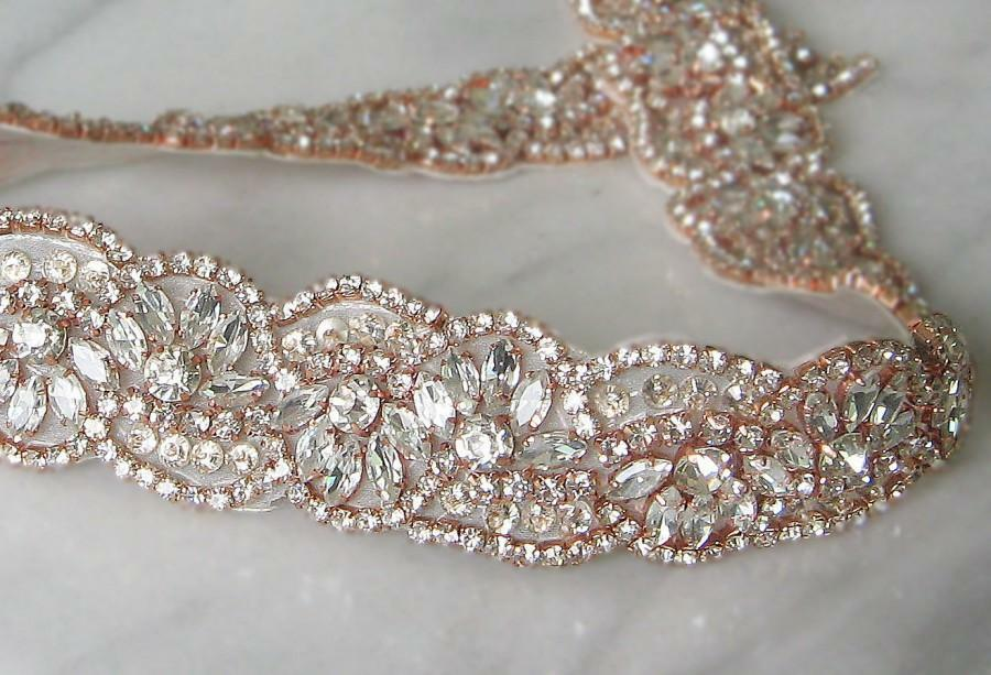 ROSIE Rose Gold Rhinestone Crystal Diamante Bridal Sash