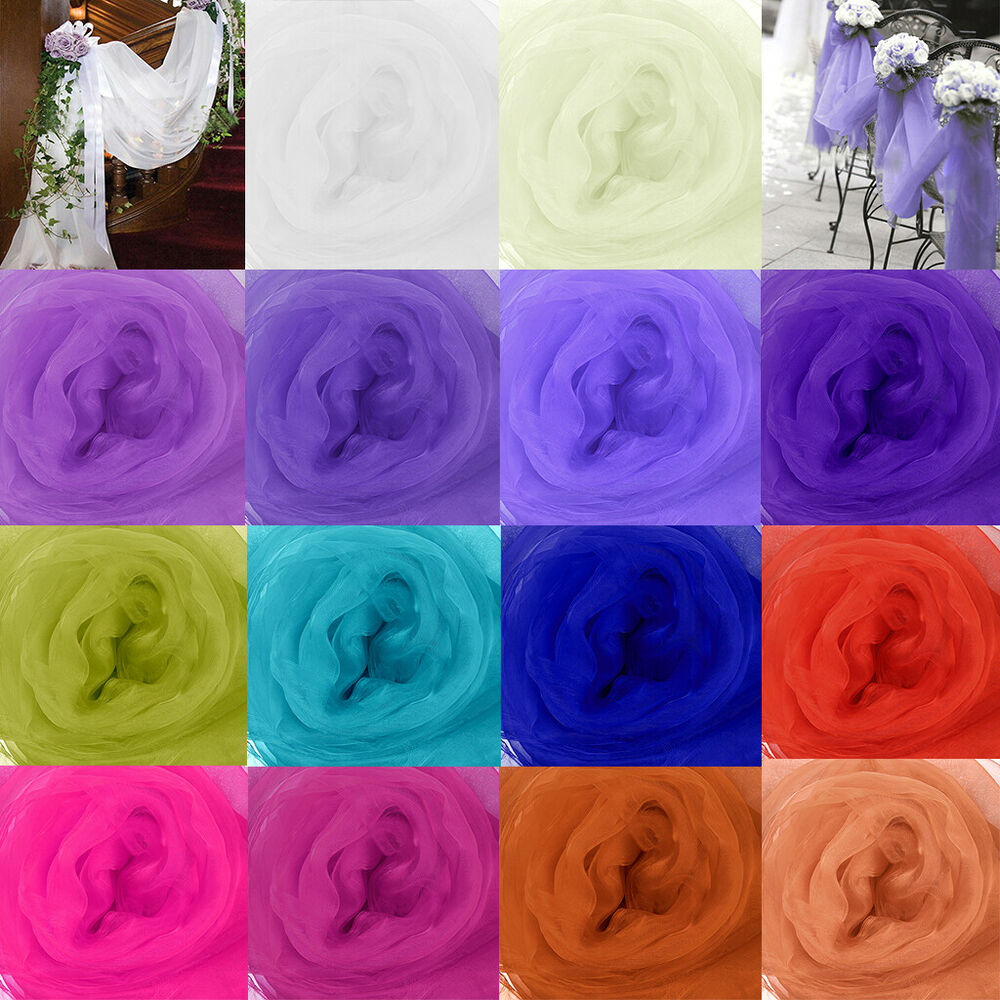 5M Top Table Swags Sheer Organza Fabric DIY Wedding Party Stair Decoration EBay
