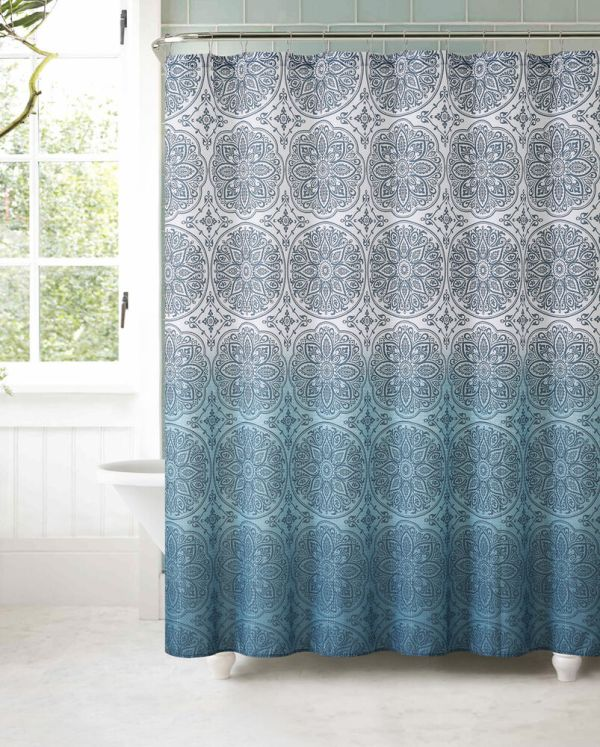 Teal Ombre Fabric Shower Curtains
