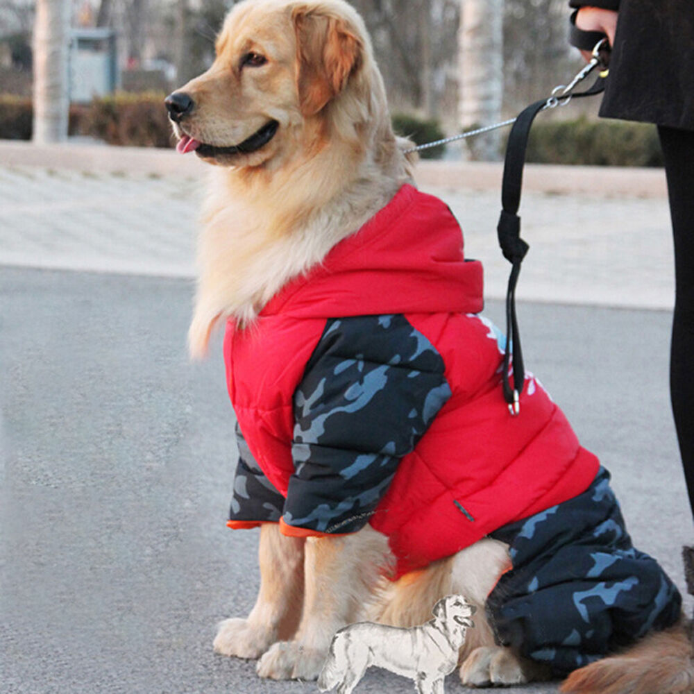 Extra Large Dog Jumpsuit Clothes Warm Hoodie Waterproof Pet Coat Winter Jacket  eBay