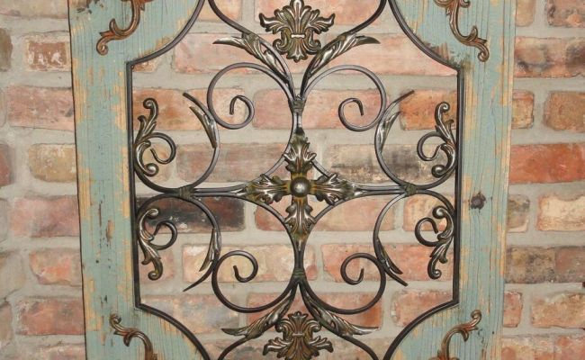 Rustic Turquoise Wood Metal Wall Decor Cottage Chic