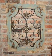 Rustic Turquoise Wood & Metal Wall Decor Cottage Chic