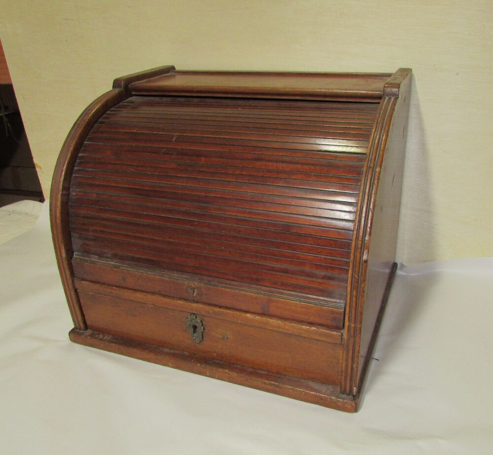 Antique Mahogany Roll Top Storage Cabinet Medical