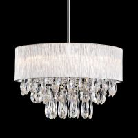 8 Lamp Round Drum Ribbed Shade Pendant Lighting Crystal ...