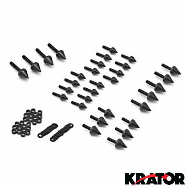 Motorcycle Sportbike Spiked Black Fairing Bolt Kits for