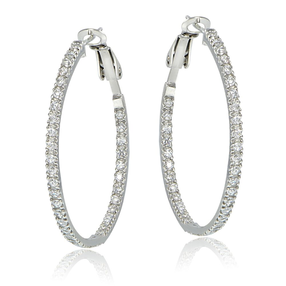925 Sterling Silver 35mm Inside Out Cubic Zirconia Hoop