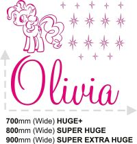 GIRLS NAME My Little Pony Bedroom New Wall Art Decal ...