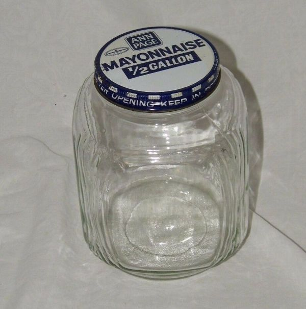 Vintage Ann Page Glass Mayonnaise Jar 1 Lid 2 Gallon Clear 17889