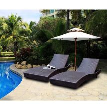 Outdoor Wicker Chaise Lounge Patio Pool