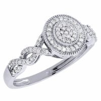 Round Diamond Infinity Engagement Ring 10k White Gold