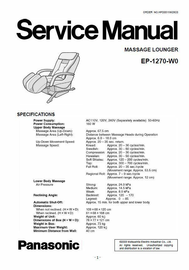 Panasonic EP1270 Massage Lounge Chair Service Manual