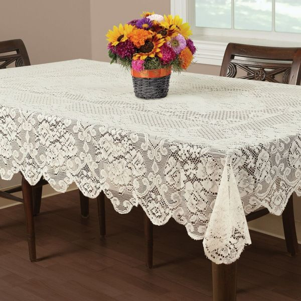 "Buckingham Lace Tablecloth Ivory 60x102"" Wedding Floral"