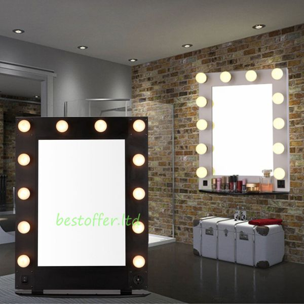 White Black Hollywood Makeup Vanity Mirror With Light Dimmer