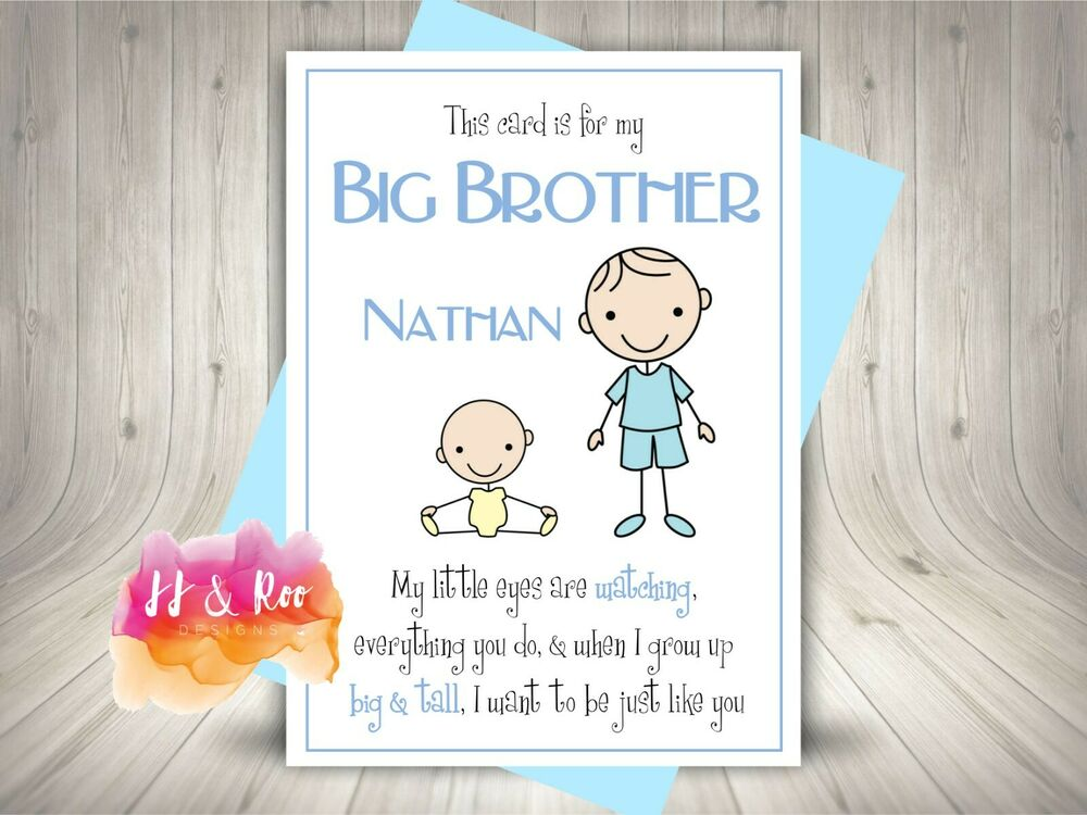 Handmade Personalised New Big Brother Card Birthday New