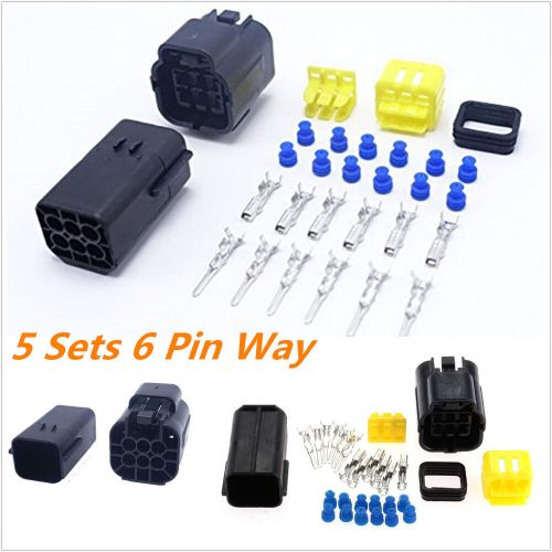 small resolution of details about 5kit 6 pin way amp sealed waterproof electrical wire connector plug terminal set