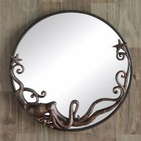 Octopus Round Wall Mirror Coastal Nautical Beach Ocean ...