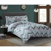 Complete Bedding Comforter Set Green Gray Zig Zag Striped ...