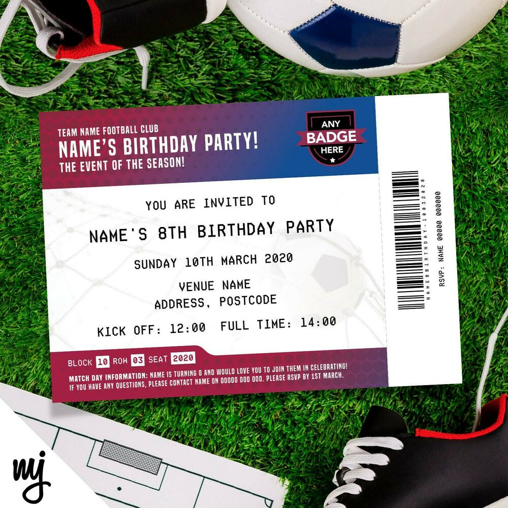 BARCELONA FC PERSONALISED KIDS ADULTS FOOTBALL TICKET