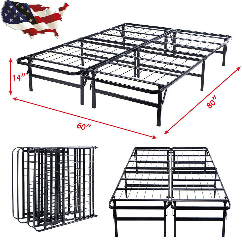 Queen Size Foldable Platform Metal Bed Frame Mattress