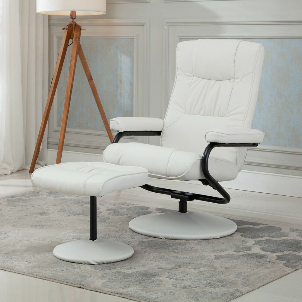 modern leather recliner swivel chair deluxe folding chairs executive armchair lounge w/ ottoman footrest set, white | ebay