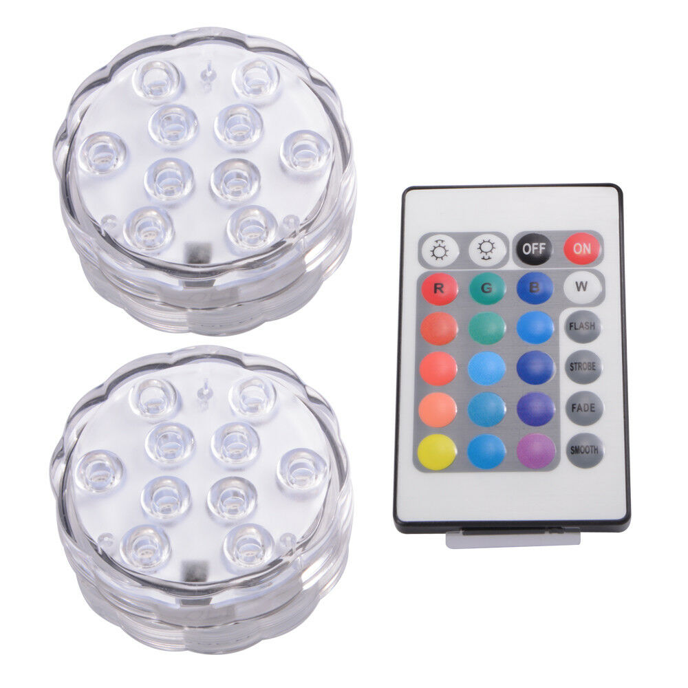 IR Remote Control SMD5050 RGB Submersible LED Lights AAA